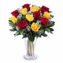 Flamenco: 12 Yellow and Red Roses