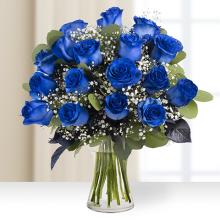 Regard vers l'infini: 12 roses bleues