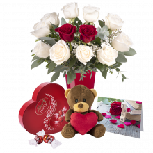 Wieczna Miłość: Zestaw Białych Róż i Maskotka