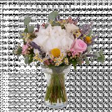 Algodón Blanco: Hortensia Blanca, Rosas y Craspedias
