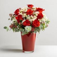 Serenità: Rose Rosse e Senecio