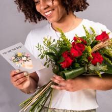 Cor de Drac: 6 Rosas Rojas y Tarjeta