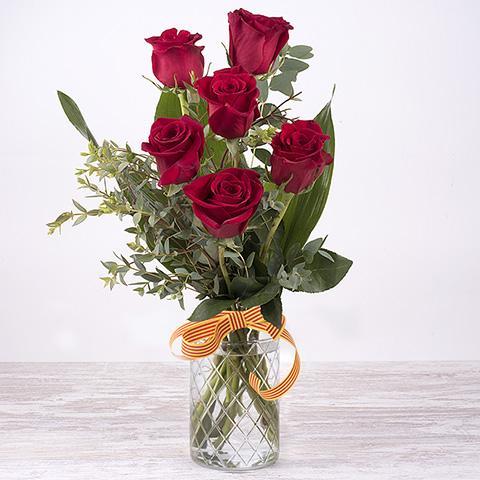 Seis rosas rojas de Sant Jordi