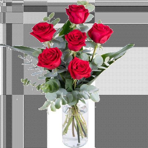 Dilo con Rosas: 6 rosas rojas
