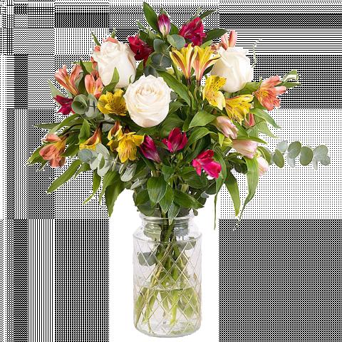 Arcoíris: rosas blancas y alstroemerias